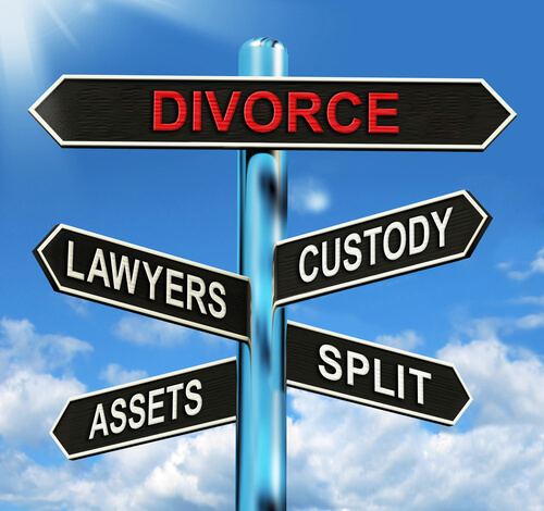 Photo of sign post highlight decision points in a divorce or separation, areas of family law handled by the lawyers at The Family Law firm, a leading Edmonton law firm office offering next day legal service and video consultations